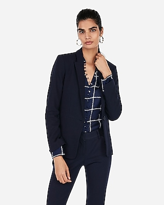 Express Womens Textured Slit Cuff Blazer Blue Women's 00 Blue 00