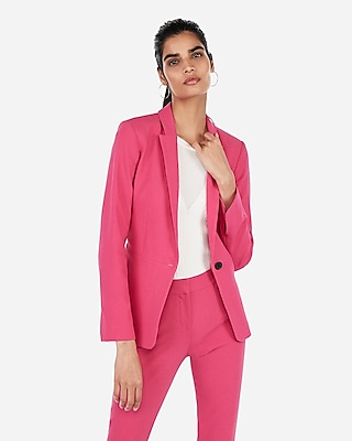 Express Womens Textured Slit Cuff Blazer Pink Women's 14 Pink 14