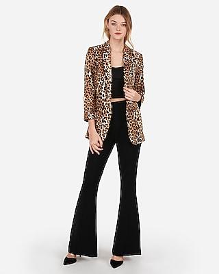 Express Womens Leopard Print Rolled Sleeve Boyfriend Blazer