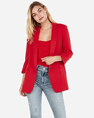 Express Womens Rolled Sleeve Boyfriend Blazer Red Women's M Petite Red M Petite