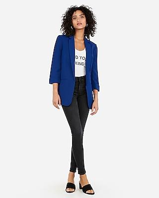 Express Womens Rolled Sleeve Boyfriend Blazer Blue Women's Xs Blue XS