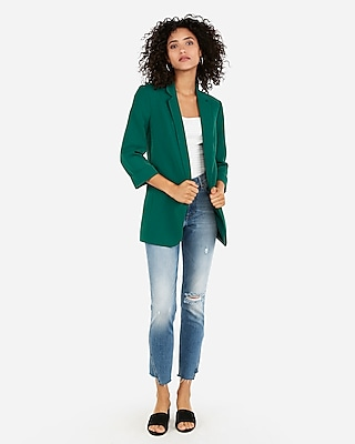 Express Womens Rolled Sleeve Boyfriend Blazer Green Women's Xs Green Xs