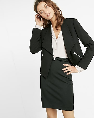 shawl collar crepe flyaway open front jacket