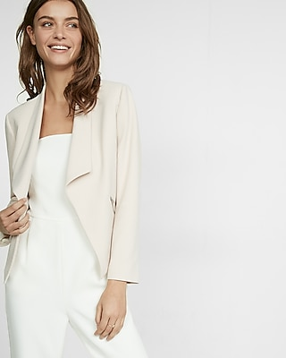 Express Womens Express Womens Shawl Collar Crepe Flyaway Open Front Jacket Pink Medium