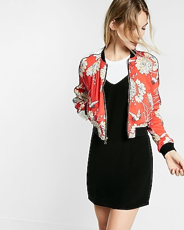 bird and floral print bomber jacket