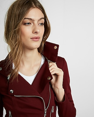 Removable Collar Knit Moto Jacket