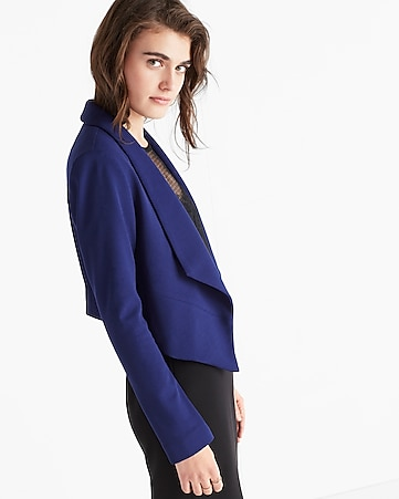 shawl collar flyaway open front jacket