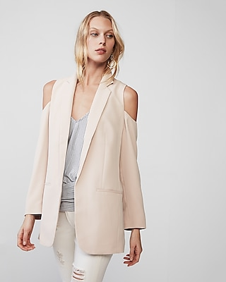 Express Womens Cold Shoulder Boyfriend Blazer