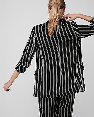 Express Womens Stripe Ruched Sleeve Boyfriend Blazer