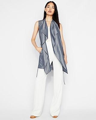 Express Womens Chambray Sleeveless Drape Tie Jacket