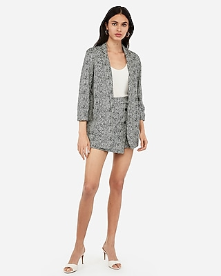 Express Womens Jacquard Ruched Sleeve Boyfriend Blazer Black And White Women's L Black And White L