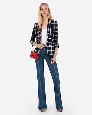 Express Womens Petite Windowpane Boyfriend Blazer