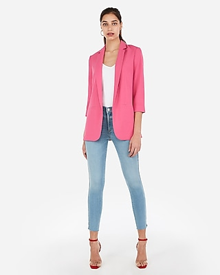 Express Womens Rolled Sleeve Notch Collar Boyfriend Blazer Pink Women's S Petite Pink S Petite