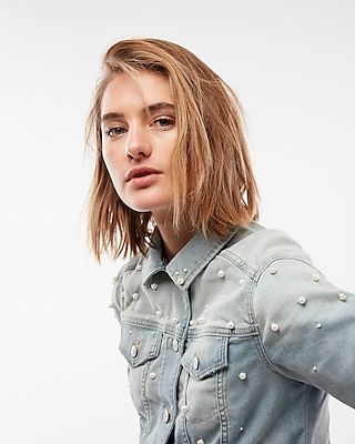 Express Womens Pearl Supersoft Denim Trucker Jacket