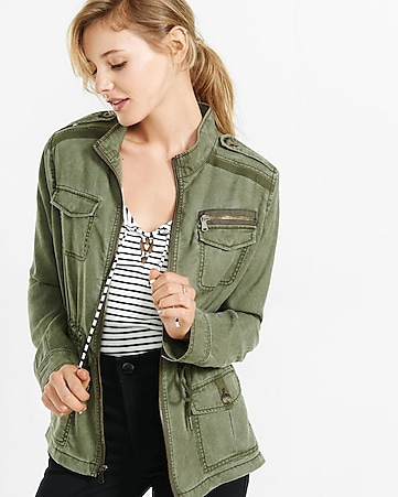 silky soft twill mini military parka