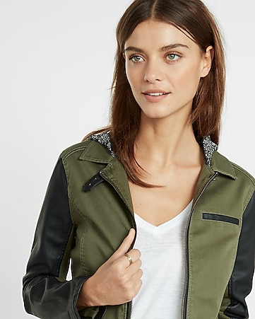 twill and faux leather hooded jacket