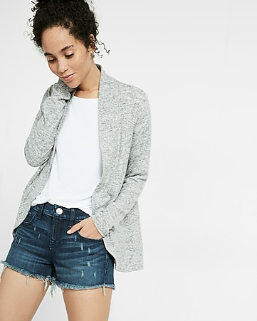 plush jersey curved hem open jacket
