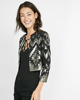 Express Womens Collarless Geometric Sequined Jacket Black Small