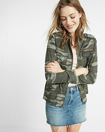 camo silky soft twill military jacket