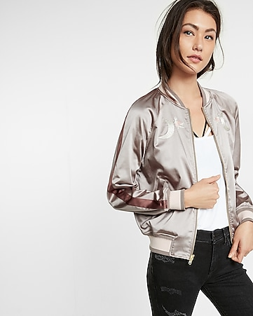 embroidered satin skeleton reversible bomber jacket