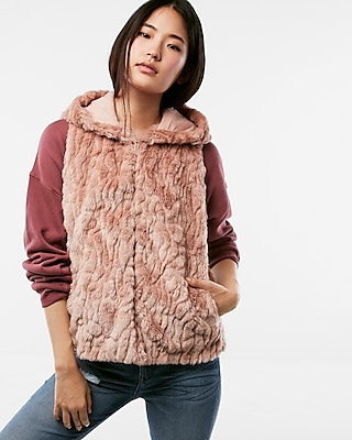 Express Womens Petite Hooded Faux Fur Vest