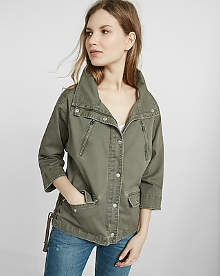 Express Womens Lace-Up Side Military Jacket