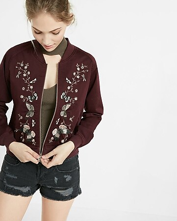 butterfly embroidery raglan sleeve bomber jacket