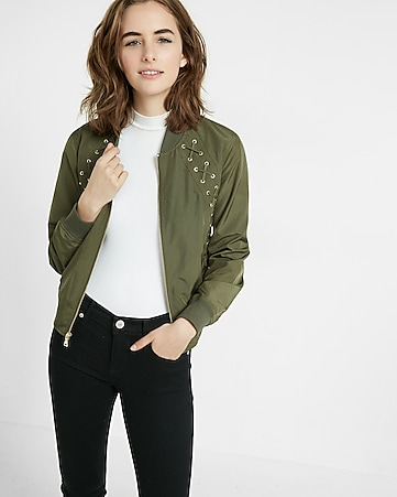 lace-up bomber jacket