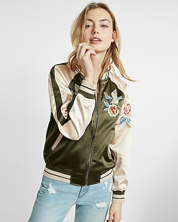 embroidered satin bird reversible bomber jacket