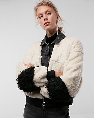 Express Womens Mixed Faux Fur Cozy Cropped Jacket