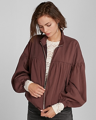Express Womens Ruched Zip Front Jacket