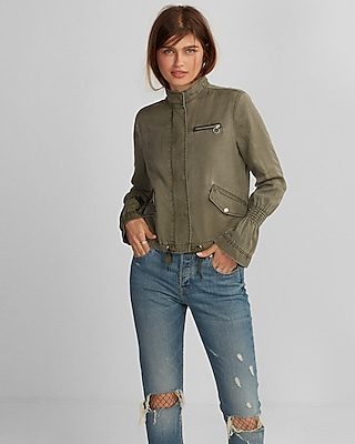 Express Womens Silky Soft Twill Smocked Sleeve Cropped Jacket