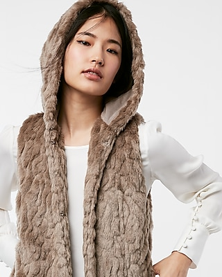 Express Womens Hooded Faux Fur Vest