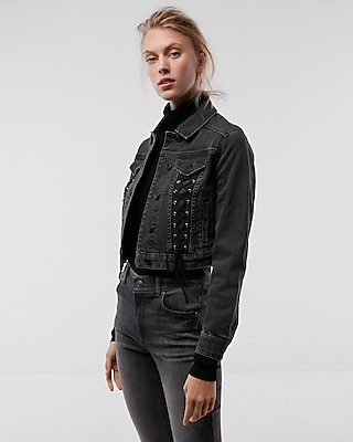 Express Womens Lace-Up Cropped Denim Jacket