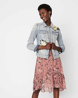 Express Womens Denim Trucker Jacket With Floral Embroidery