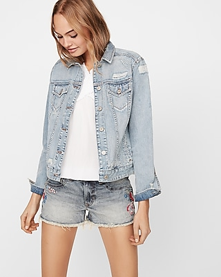 Express Womens Supersoft Distressed Denim Trucker Jacket