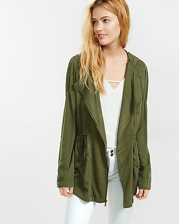 olive roll sleeve parka