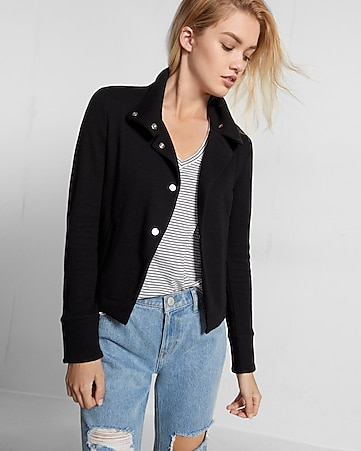 jet knit drape collar jacket