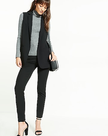 sleeveless notch collar boyfriend jacket