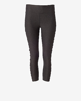 Express Womens Exp Core Mesh Lace-Up Panel Cropped Leggings