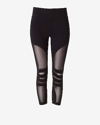 Express Womens Exp Core Mesh Cropped Leggings