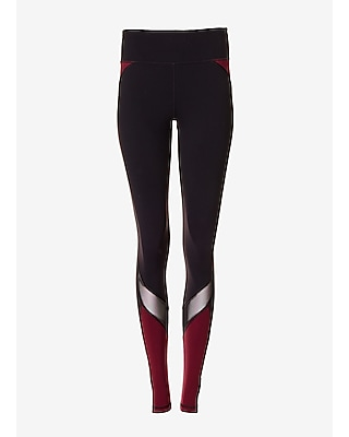 Express Womens Exp Core Mesh And Berry Stripe Compression Legging