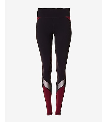 EXP core mesh and berry stripe compression legging