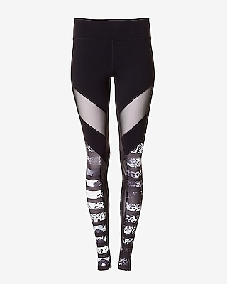 Express Womens Exp Core Mesh And Animal Print Stripe Legging