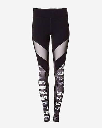 EXP core mesh and animal print stripe legging