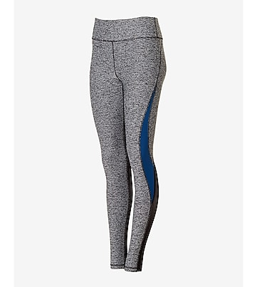 marled EXP core mesh and blue stripe legging