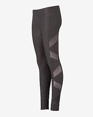 Express Womens Exp Core Charcoal Slash Mesh Leggings