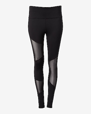 Express Womens Exp Core Asymmetrical Pieced Mesh Leggings
