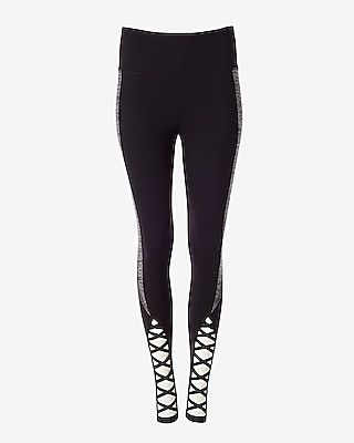 Express Womens Exp Core Marled Lace-Up Leggings