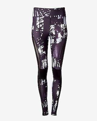 Express Womens Exp Core Palm Print Pieced Mesh Leggings